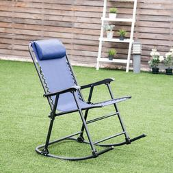 New Blue Outdoor Patio Headrest Folding Zero Gravity Rocking