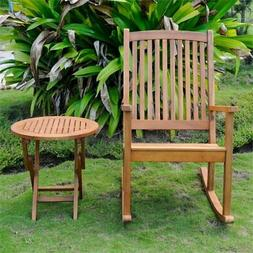 Nicosia Acacia Wood Rocker and Side Table Stain