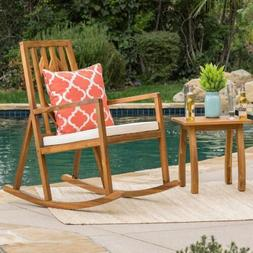 Noble Outdoor Geometric Teak Acacia Wood Rocking Chair with