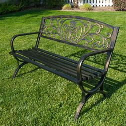 Outdoor Bench Patio Chair Metal Garden Furniture Deck Backya