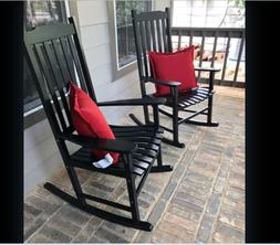 Outdoor Black Wood Rocking Chair Porch Rocker Slat Indoor De