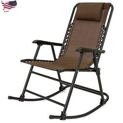 Outdoor Foldable Zero Gravity Rocking Patio Recliner Chair B