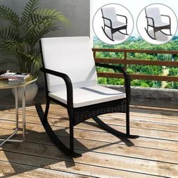 Outdoor Garden Patio Rocking Arm Chair Porch Poly Rattan wit
