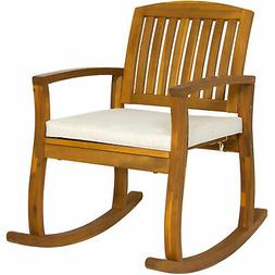 outdoor patio acacia wood rocking chair w