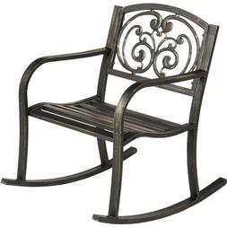 Outdoor Rocking Chair Patio Metal Rocker Porch Garden Furnit