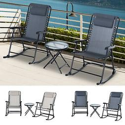 Outdoor Rocking Chair Patio Table Seating Set Rocker Bistro
