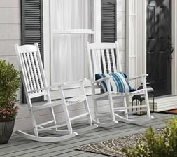 Mainstays Outdoor Wood Porch Rocking Chair, White Color,Weat