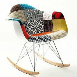 Patchwork Knitted Design Pattern Rocking Chair Arm Chair