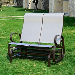Outsunny Patio Glider Bench Chair Rocking 2 Seat Mesh Outdoo