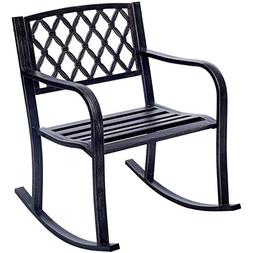 Giantex Patio Metal Rocking Chair Porch Seat Deck Outdoor Ba
