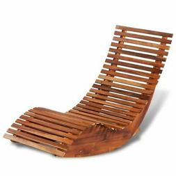 Patio Outdoor Rocking Chair Bench Acacia Wood Porch Rocker G