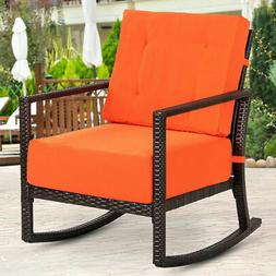 Patio Rattan Rocking Chair Rocker Armchair Outdoor Garden Fu