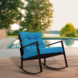 Patio Rattan Wicker Rocking Chair Glider Garden Deck Outdoor
