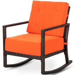Patio Rattan Wicker Rocking Chair Porch Deck Rocker w/ Cushi