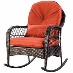 Patio Rattan Wicker Rocking Chair Porch Deck Rocker Outdoor