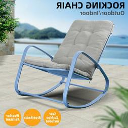 Patio Rocking Chair Indoor Outdoor Furniture Padded Cushion