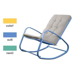 Patio Rocking Chair Outdoor Padded Steel Rocker Seat Removab