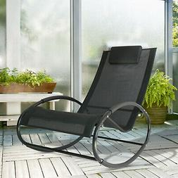 Outsunny Patio Rocking Lounge Chair Orbital Zero Gravity Sea