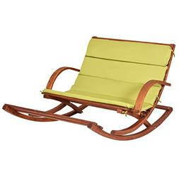Giantex Patio Wood 2 Person Rocking Lounge Chair Wood Slat P