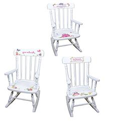 Personalized Girls Rocking Chair-white