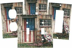 PERSONALIZED PRIMITIVE AMERICAN FLAG BARN DOOR ROCKING CHAIR