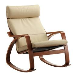 Ikea Poang Rocking Chair Medium Brown with Robust Off-white