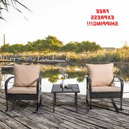 Rattan Patio Dining Set Rocking Chairs With Cushions And Gla