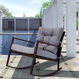 Kinbor Rattan Rocker Chair Outdoor Garden Rocking Chair Wick