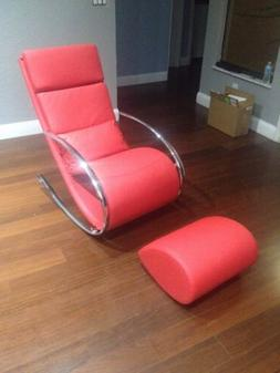 Red Leatherette Rocking Chair & Ottoman - Modern Brand New -