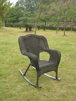 Resin Wicker Camel Back Rocking Chairs