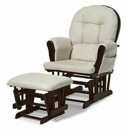 Baby Nursery Glider Rocker Rocking Chair Cherry Finish & wit