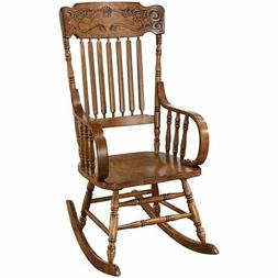 Bowery Hill Rocker with Ornamental Headrest in Warm Brown