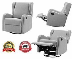 Rocking Chair 360° Swivel Fully Reclining Furniture Gray