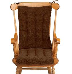 Rocking Chair Cushion Set Sherpa Dark Brown Chocolate Soft F