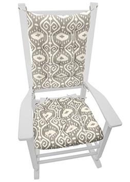 Rocking Chair Cushion Set - Bali Ikat Stone Grey - Reversibl