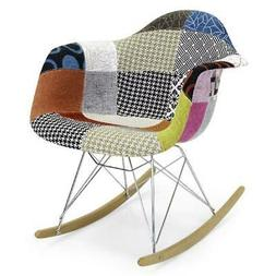 Rocking Chair Mid-Century Multicolor Art Decor Armrests Desi
