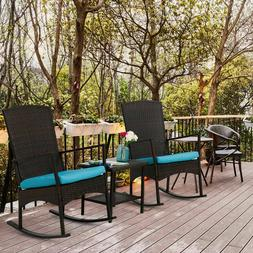 3 PCS Rattan Wicker Patio Furniture Set Rocking Chair W/ Cof