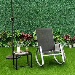 Outdoor Rocking Chair Steel Patio Furniture Mesh Seat Rocker
