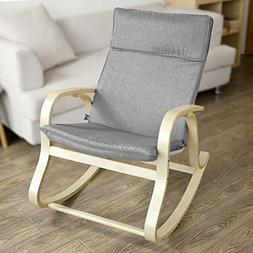 Rocking Chair With Cotton Fabric Cushion 120kg Load Capacity