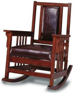Rocking Chair With Leather Match Seat And Back Tobacco And D