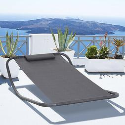 Outsunny Rocking Patio Lounge Chair for Deck or Patio, w/ a