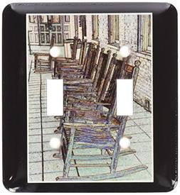 3dRose Row of antique rocking chairs on a tiled porch, Doubl
