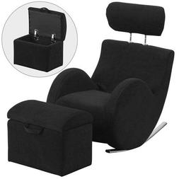 Parkside Series Black Fabric Rocking Chair with Storage Otto