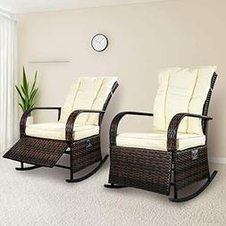 Set of 2 PE Rocking Chair Auto Adjustable Rattan Reclining C
