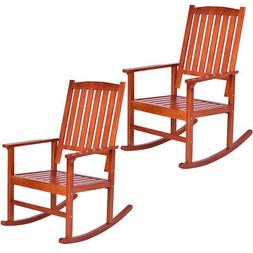 set of 2 wood rocking chair porch