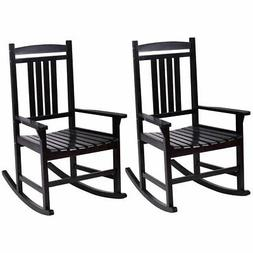 Set of 2 Wood Rocking Chair Porch Rocker Indoor Outdoor Pati