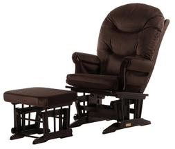 Dutailier Sleigh Glider and Ottoman Combo, Espresso/Chocolat