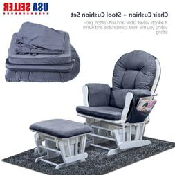 Soft Cotton Chair Cushion & Stool Pad Set for Rocker Rocking