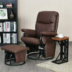 Soft Glider Recliner 360° Swivel Rocking Chair with Ottoman