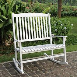 Mainstays Solid Hardwood Outdoor Patio Double Rocking Chair,